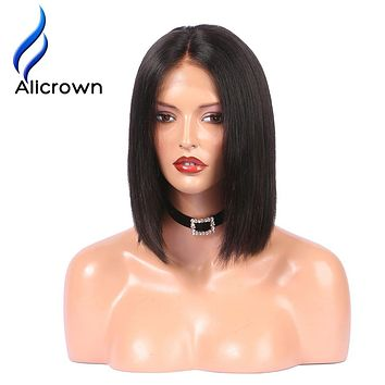 Alicrown Lace Front Human Hair Wigs Pre Plucked Straight Full End Brazilian Remy Hair Short Bob Wigs Bleached Knots Middle Part
