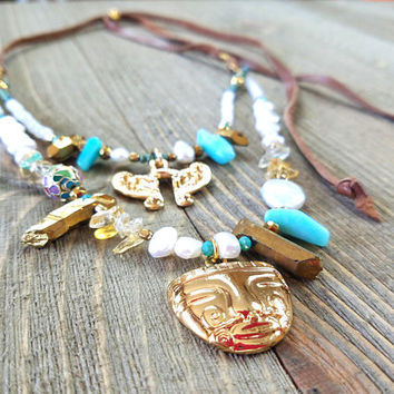 PreColumbian Pendant Necklace-Deerskin Leather Wrap Necklace-Handmade Crystal Statement Necklace Gift-Turquoise Beads-Citrine Beads