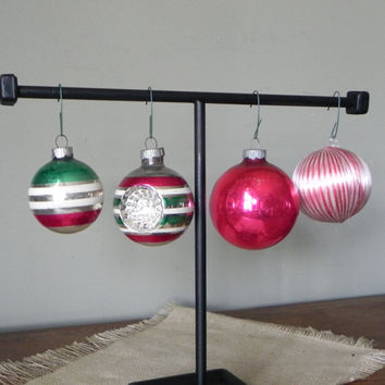 Vintage mercury glass christmas balls ornaments pink silver green white glittery glitter four shiny brute