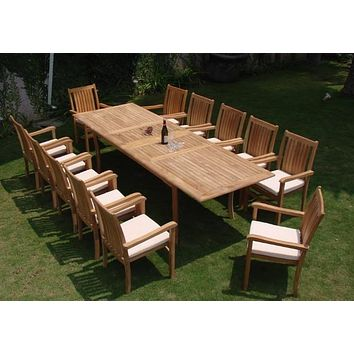 Ala Teak Wood Patio Outside Garden Yard Dining Table and 12 Chair Set Waterproof Teak Furniture Fully Assembled …
