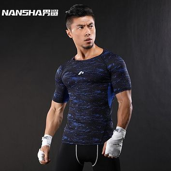NANSHA Brand-Clothing Gyms Compression T-Shirt Workout Crossfit T Shirt Fitness Slim men