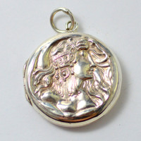 Antique Art Nouveau Sterling Silver Locket with Bohemian Lady and Flowing Hair