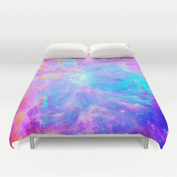 Duvet Cover, Galaxy Duvet, Pink Blue Lavender Orion Nebula Duvet, Galaxy Print, Space Duvet, Bedroom Decor, Dorm Decor, Full Queen King