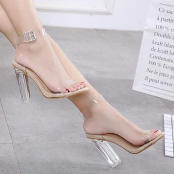 Summer jelly sandals women sexy clear high heel