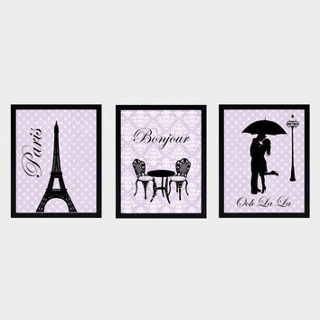 Paris Themed Wall Prints, Set of 3, Black on Vintage Lavender CUSTOMIZE YOUR COLORS 8x10 Prints, home and nursery decor print art baby decor