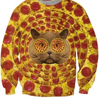 Pizza Face Cat Crewneck Sweatshirt