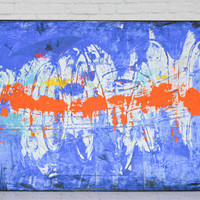 Uncle Jessie's Garage- an original painting, abstract art, modern art, urban art, industrial art, blue and orange, large canvas