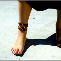 Grecian Triple Wrap Leather Anklet with Studs