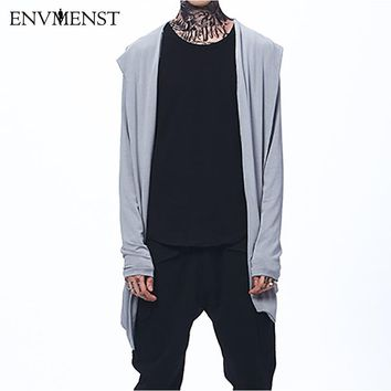 Autumn New Men's Thin No Button Cardigan Sweaters Long Hooded Knitted Cloak\