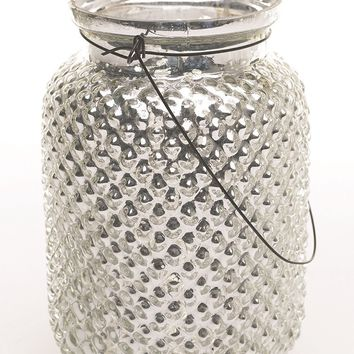 "Envie Mercury Glass Hanging Hobnail Jar in Silver - 6.5"" Tall x 4.5"" Wide"