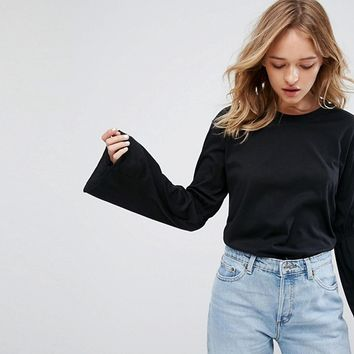 Monki Flute Sleeve Top at asos.com