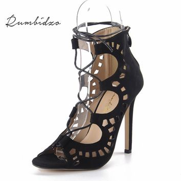 Rumbidzo Women Pumps 2017 Fashion Women Shoes Sandals Lace up High Heels CutOuts Summ