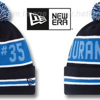 hatland.com - close up of Thunder 'THE-COACH DURANT #35' Navy Knit Beanie Hat by New Era