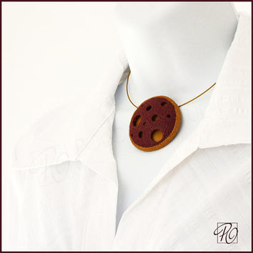 Statement Pendant Necklace Polymer Clay Dark Red Gold, Hollow Bead Polymer Clay Jewelry. Modern Art