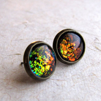 Magic Rainbow Flake Antiqued Brass Post Earrings