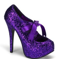 Bordello Purple Glitter Stiletto Platforms