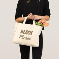 Beach Please Funny Real Sand Look Typography Mini Tote Bag