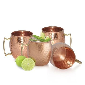 4Pcs 18oz Stainless Steel Copper Hammered Drum Moscow Mule Mug