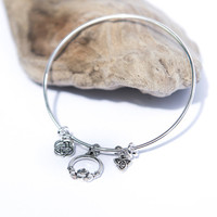 Silver Sister Bracelet, Celtic Bangle, Claddagh Irish Friendship Bracelet, Silver Knot, Trinity, Eternity, Best Friend Gift