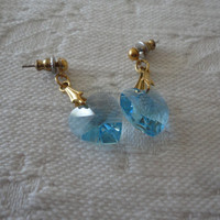Swarovski Crystal Light Blue Ladies Heart Dangle Pierced Earrings
