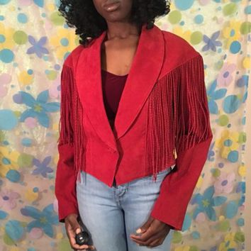Vintage Red Leather Jacket With Fringe Medium
