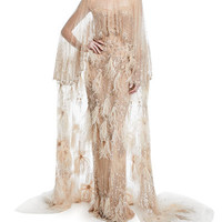 Pamella Roland Feather-Embellished Tulle Cape Gown