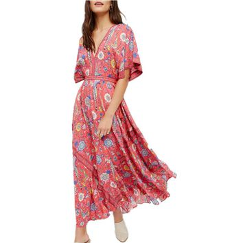 Floral Print Chiffon Long Dress V-Neck Tassel Batwing Sleeve Women Dresses Beach Wear 2017 Summer Holiday Dresses Boho Dress