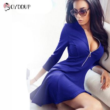 Spring 2017 Women Sexy A-Line dress 3/4 sleeve V-Neck Fashion Mini Party Dresses Solid color zippers Vestidos
