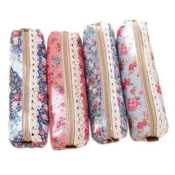 DCCKV2S Polytree 4pcs Retro Flower Floral Lace Pencil Pen Case Cosmetic Makeup Bag Zipper Pouch Purse