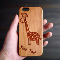 Custom Giraffe+Name Wood iPhone Case