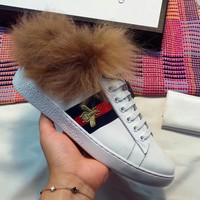Gucci Man or Woman Fashion Embroidery Wool Casual Shoes