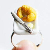 Croissant Breakfast Ring, Fimo, Polymer Clay