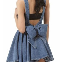 Retro Bowknot Denim Dress with Cut Out Back