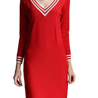 Red V-neck Knitted A-line Dress