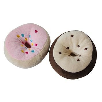 Pet Dog Cat Training Chew Sound Activity Donut Style Squeaky Squeaker Play Toy
