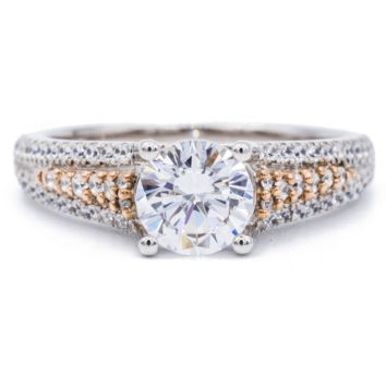 Round Moissanite Two Tone 14K White and Rose Gold Diamond Shank Ring