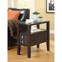 Casual Wooden Chair Side Table With Two Drawer, Brown By Coaster