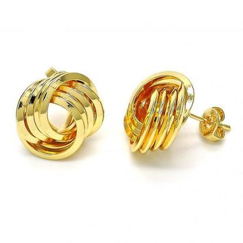 Gold Layered 02.63.2379 Stud Earring, Love Knot Design, Polished Finish, Golden Tone