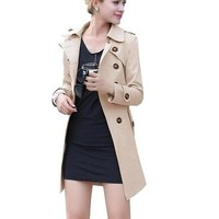 Women's Slim Double Breasted Belted Long Trench Coat