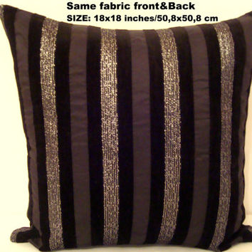 Black Burlap silver metallic embroidery pillow cover 18x18
