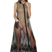 Night Falls Mesh Maxi Embroidered Dress