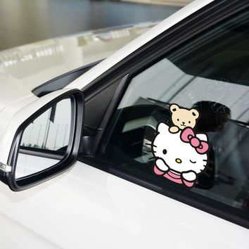 Aliauto Car-styling Funny Car Sticker Hello Kitty Watching Lovely Cartoon Decal Accessories For Ford Focus Volkswagen Polo Golf