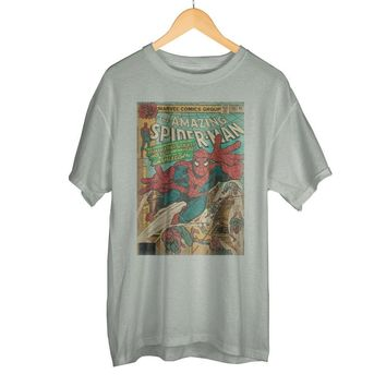 Marvel Spider-Man Vintage Comic Book Cover Artwork Gray Graphic Print Boxed Cotton Men's T-Shirt
