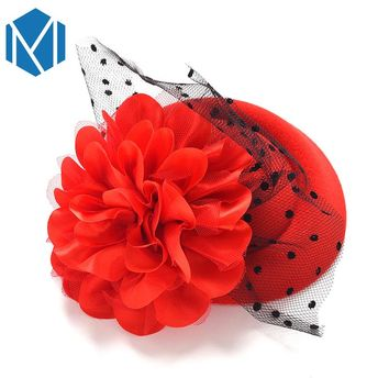 M MISM Girls Hair Accessories Elegant Lace Cap Hairpins Festival Party Hat Hairgrips Baby Big Flower Hair Clip Hair Decoration