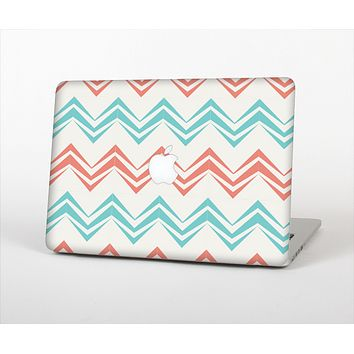 The Vintage Coral & Teal Abstract Chevron Pattern Skin Set for the Apple MacBook Air 11""