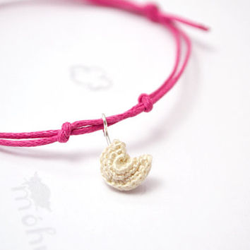 fortune cookie bracelet - crocheted charm with bright pink adjustable cord
