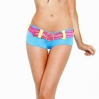 Body Language Neon Rave Color Block Peasant Tie Front Top & Belted Booty Shorts Set Go Go Dancer Set Wholesale Supplier FREE SHIPPING