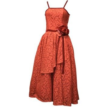 1950s Red Lace Cocktail Dress