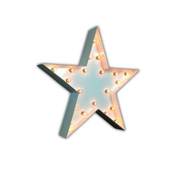 "24"" Star Vintage Marquee Lights Sign (White Gloss)"