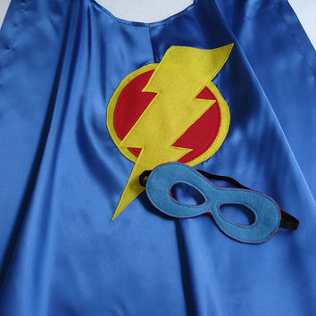 Children's Custom Superhero Lightning Bolt Cape Including Matching Mask